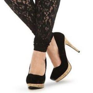 Torrid Black Velvet Stilettos faux cork heel 9